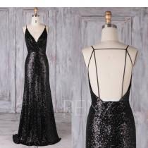 wedding photo - Bridesmaid Dress Black Sequin Dress Wedding Dress Ruched V Neck Fitted Maxi Dress Spaghetti Strap Party Dress Backless Evening Dress(LQ388B)