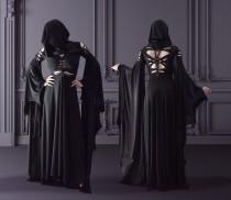 wedding photo - slashed dress Morticia Addams black gothic hood hoodie