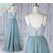 wedding photo - Bridesmaid Dress Long Pale Blue Tulle Party Dress Sweetheart Maxi Dress with Spaghetti Straps READY-TO-SHIP - HS548