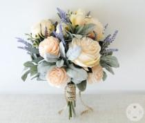 wedding photo - Roses and lavender bouquet brides or bridesmaid flowers - boho wedding - artificial bouquet - silk bouquet - boho bouquet - wedding flowers