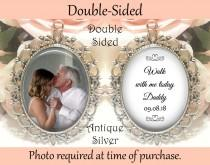 wedding photo - SALE! Memorial Bouquet Charm - Double-Sided - Personalized with Photo - Walk with me today Daddy with Date