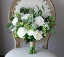 wedding photo - White & Greenery Bridal Bouquet, Green Wedding Bouquet, Peonies, Eucalyptus, Bride, Bridesmaids, Silk Flowers, Artificial Faux, Roses