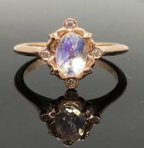 wedding photo - Rose Gold Vintage Inspired Moonstone and Diamond Engagement Ring - 14K Rose Gold Victorian Moonstone Ring - Rainbow Moonstone Promise Ring