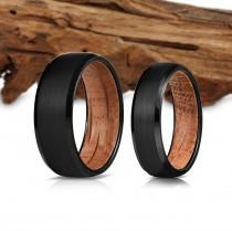 wedding photo - Black Wood Ring, Wooden Ring for Men, Tungsten Carbide Ring, Wood Wedding Band, whisky barrel, Wood Ring, Black Ring, Wedding Band, 8mm, BT