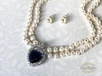 wedding photo - Bridal pearl jewelry set, Blue Sapphire cubic zircon wedding necklace earrings, Pearl necklace earrings set, Princess Diana inspired choker