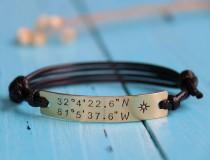 wedding photo - Custom Coordinates anniversary bracelet, personalized coordinates bracelet, customized coordinates bracelet, latitude longitude bracelet