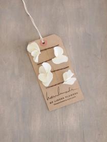 wedding photo - Set of 4 Small Ivory White Hydrangea Hair Flowers , Flower Hair Pins, Wedding Hair Accessorise