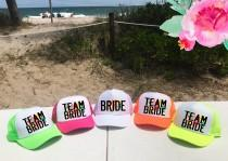wedding photo - Neon CUSTOM Bachelorette Hats / FLORAL background with Custom Saying Trucker Hat / Bridal Party / Bridesmaids Maid of Honor / Pool