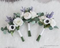 wedding photo - White Anemone Paper Bridesmaid Mini Flower Bouquet, Shop's original work, Boho Paper Bouquet, Paper Toss Bouquet, Diameter 7 inches