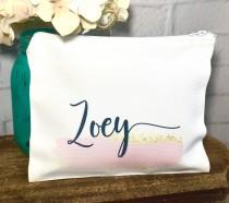 wedding photo - personalized makeup bag,  Personalized bridesmaid gift, make up bag for bridemaids, personalized cosmetic bag, bridesmaid cosmetic bag, gift