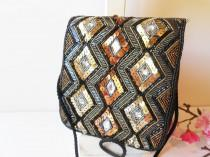wedding photo - Vintage Black Beaded Evening Bag, Black Handbag in Gold Silver Copper, Glamorous Bag  EB-0727
