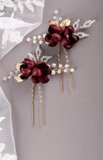 wedding photo - Burgundy silk flower hair pins Burgundy rosebud hair pin Burgundy Wedding Bridesmaid hair accessories Floral hair pins Dark red hair piece