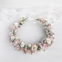 wedding photo - Flower crown, Blush flower crown, Flower crown wedding