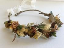 wedding photo - Natural Grains  flower crown- Dried Flower Crown- Preserved Flower Crown- Fall Wedding- Flower Crown
