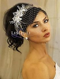 wedding photo - Leslie Li Pearl Crystal Sprays and Birdcage Veil Bridal One Size Ivory 27-515