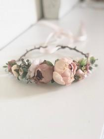 wedding photo - Blush Flower Crown- Floral Crown- Baby Flower Crown- Bridal Flower Crown- Avry Couture- Flower Crowns- Flower Girl Flower Crown- Newborn