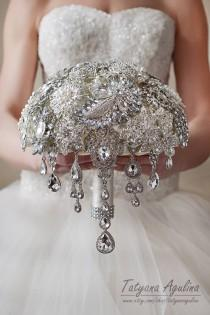 wedding photo - Brooch Bouquet Wedding Bouquet Bridal Bouquet Broach Bouquet Bridesmaid Bouquet Crystal Bouquet Wedding Dress Silver Bouquet Gatsby Bouquet