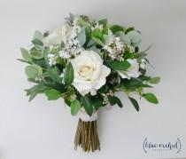 wedding photo - wedding flowers, wedding bouquet, bridal bouquet, silk bouquet, eucalyptus bouquet, artificial bouquet, boho bouquet, ivory, white, green