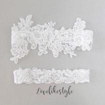 wedding photo - Wedding Garter Set,White Beaded Lace Garter Set,Bridal Wedding Grter,Wedding Garter Set, White Wedding Garter, Style No. 1805