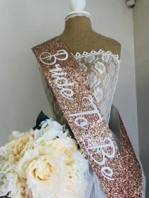 wedding photo - ROSE GOLD Glitter Sash - Hen Party Sash- Bachelorette Party-Bride to be Rose Gold sash