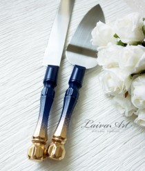 wedding photo - Navy Blue and Gold Wedding Cake Server and Knife  Personalized Server and Knife Engraved Server Set Cake Cutting Set Gold and Navy Blue Set