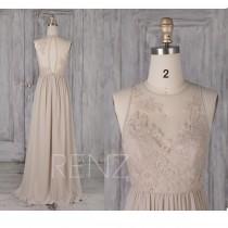 wedding photo - Bridesmaid Dress Cream Chiffon Wedding Dress Illusion Lace Round Neck Maxi Dress Sleeveless Key Hole Back A-Line Sleeveless Prom Dress(L481)