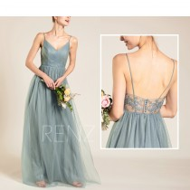 wedding photo - Prom Dress Dusty Blue Long Wedding Dress V Neck Tulle Bridesmaid  Dress Backless A-line Lace Dress (HS579B)