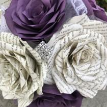 wedding photo -  Paper book page and filter paper rose wedding bouquet shown in shades of purple - Colors are customizable