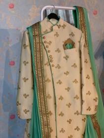 wedding photo - Custom made wedding wear/ Indian sherwani/ Men's wedding dress/ Light color wedding sherwani