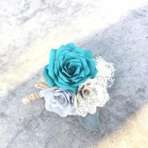 wedding photo -  Teal paper boutonniere - Burlap twine and lace - Customizable colors