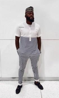wedding photo - Men's African Wear, White and blue stripes, African Fashion, African wear, Dashiki.