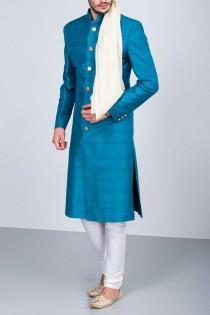 wedding photo - Blue Wedding Jodhpuri suit Achkan Shewani for men / plus size available