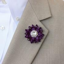 wedding photo - Mens Lapel Flower Pin, Custom Lapel Pin, Purple Boutonniere, Purple Lapel Flower for Men, Mens Lapel Pin, Mens Fashion Accessories, Custom