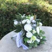 wedding photo -  White paper flower bridal bouquet with silk greenery and accents