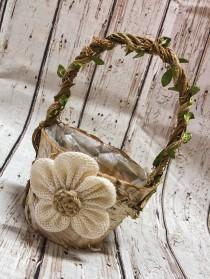 wedding photo - Rustic flower girl basket with burlap handmade flower, two sizes available