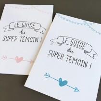 wedding photo - Wedding witness booklet, temoin kit, blue pink, guide, wedding