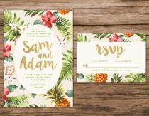 wedding photo - Tropical Wedding Invitation, Destination Wedding Invitation, Hawaiian Wedding Invite