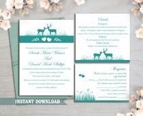 wedding photo - Wedding Invitation Template Download Printable Wedding Invitation Editable Reindeer Invitation Teal Wedding Invitations Blue Invite DIY DG13