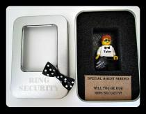 wedding photo - Personalized name Gift ring bearer card invitation toy figure toy gift ring security figure briefcase tin box with bow tie