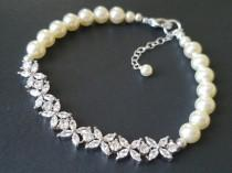 wedding photo - Pearl Cubic Zirconia Wedding Bracelet, Swarovski Ivory Pearl Crystal Bracelet, Dainty Pearl Bracelet, Bridal Pearl Jewelry, Wedding Jewelry