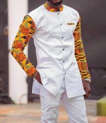 wedding photo - Tunde African men's suit// men's clothing, African dashiki, African wedding suit, African groom suit, African men's wear, African fashion