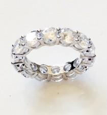 wedding photo - 8.55 TCW 925 Sterling Silver Round Cut 4.5 mm CZ Prong Set Eternity Bridal Wedding Ring Band Half Sizes Available Size 4-12