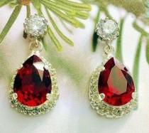 wedding photo - Swarovski Jewelry Set,Red Christmas Clip-On Earrings,Wedding Jewelry Set,Holiday Jewelry,Sterling,Rose Gold or Gold,Siam Teardrop,Necklace