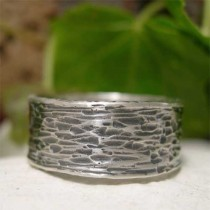 wedding photo - Wide Band Sterling Silver Ring, Tree Bark Ring, Textured Hammered Silver Ring, Hand Forged Oxidized Ring, Unique Rustic Men's/Women's Ring