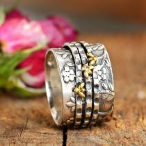 wedding photo - Bee Ring, Spinner Ring, Sterling Silver Ring for Women, Floral Flower Ring, Meditation Spinning Wide Band, Anxiety Worry Fidget Ring