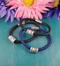 wedding photo - Name bracelet, gift for dad, faux leather name bracelet, name ring bracelet, mens bracelet, fathers bracelet, dad bracelet, bracelet for dad
