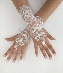 wedding photo - Unique Wedding Gloves, Ivory lace gloves, Ivory bride glove bridal gloves lace gloves fingerless gloves