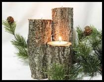 wedding photo - Log Wood Candle Set of 3 tealights included.