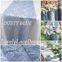 """wedding photo - Lace Table Runner for Weddings/DUSTY BLUE/12""""wide/ 3ft-10ft long /Wedding centerpiece/table decoration for weddings"""