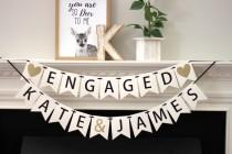 wedding photo - engagement party decorations - bridal shower banner - personalized engagement decorations - engagement banner - Engaged - name banner set